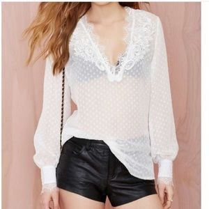 Nasty Gal Swiss Dot and Lace Shirt